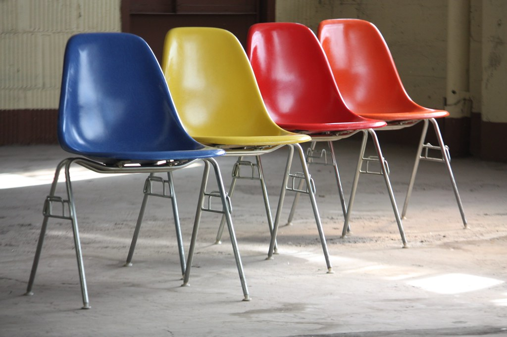 ... Vibrant Vintage Charles And Ray Eames Molded Fiberglass Side Shell  Chairs For Herman Miller (U.S.A.