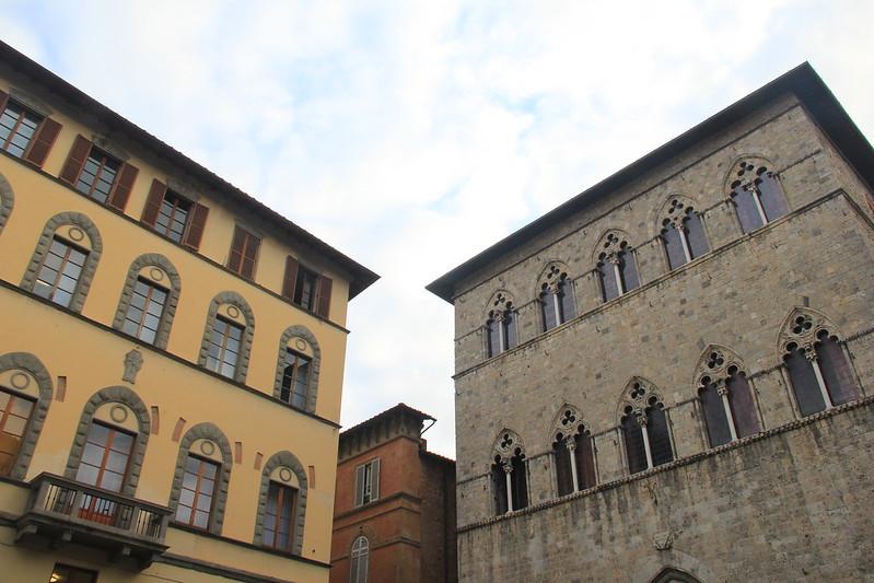 Monte dei Paschi (left); Palazzo Tolomeo (right)