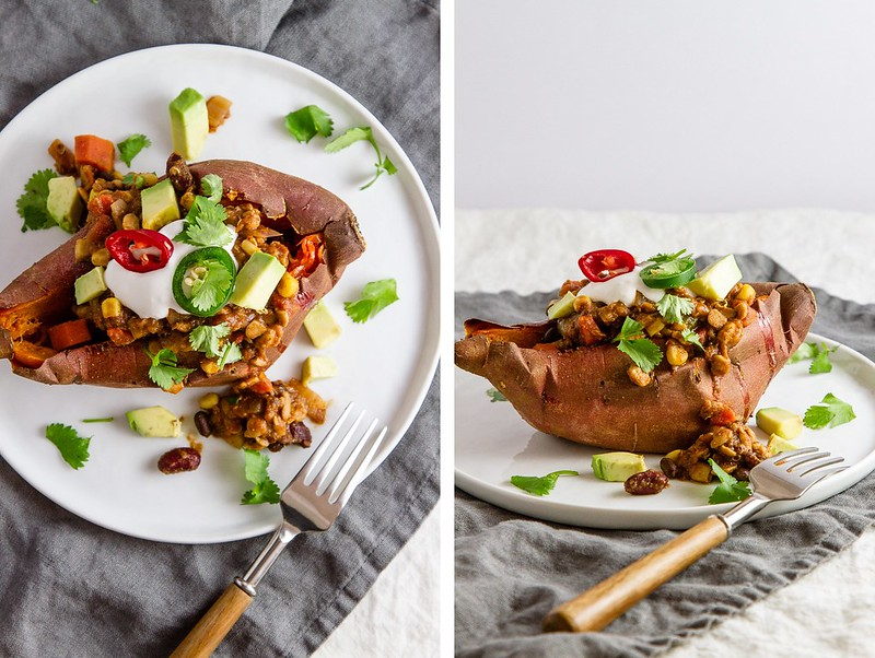 CHILI STUFFED BAKED SWEET POTATO