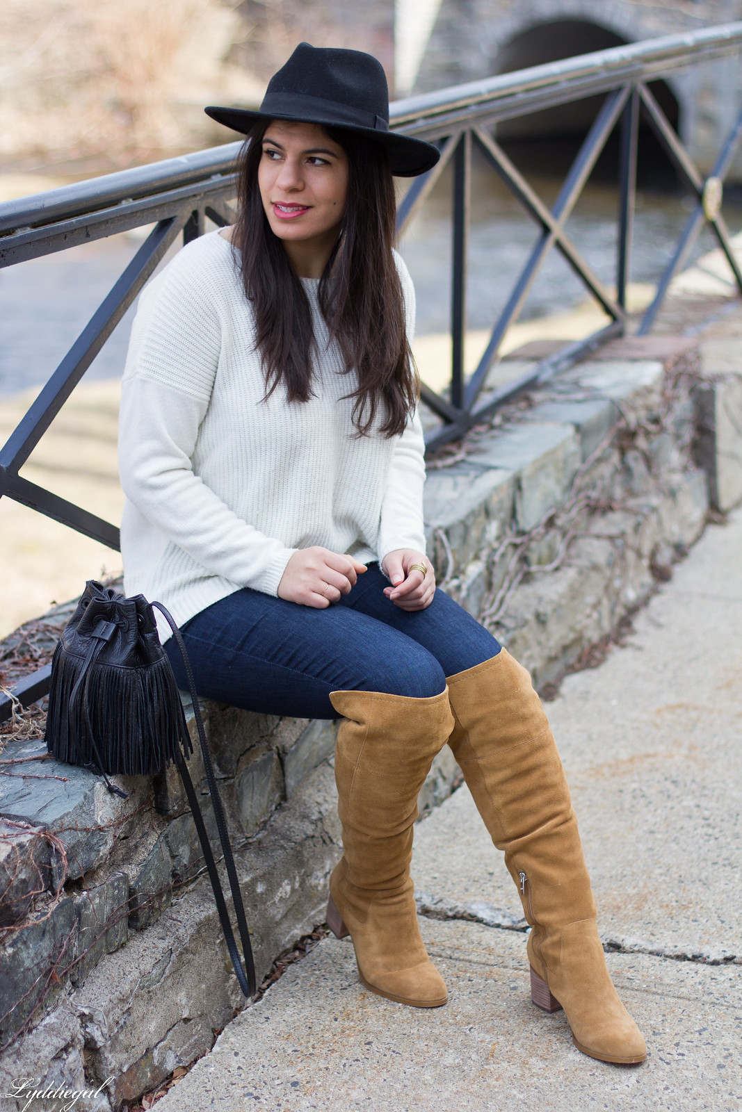 white sweater, tan over the knee boots, black wool hat-17.jpg