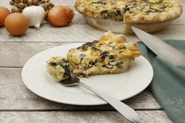 carmelized-shallot-chard-mushroom-quiche-white