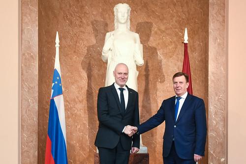 Ministru prezidents Māris Kučinskis tiekas ar Slovēnijas Nacionālās asamblejas prezidentu Milanu Brglezsu (Milan Brglez).