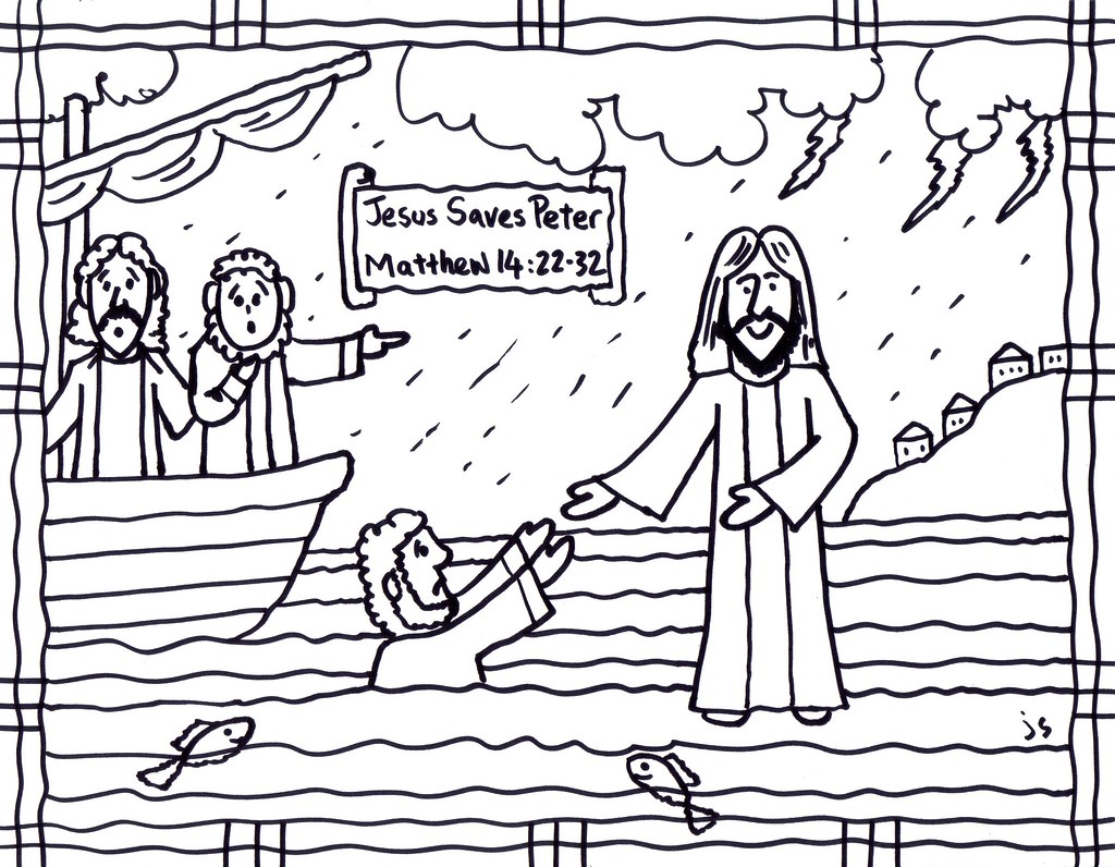 Jesus Saves Peter cs | Jesus walks on water coloring page | John ...