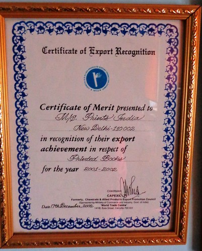 Certificate of Export Recognition (2001-02) | by printspublications