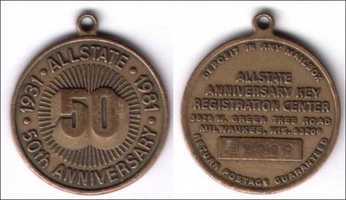 1981 Allstate 50th Anniversary Key Fob