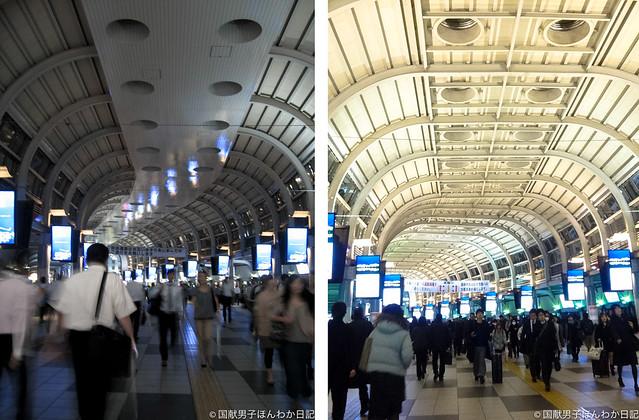 節電と自粛で消灯されていたJR品川駅の自由通路の照明も6年を前に復活(撮影:筆者)