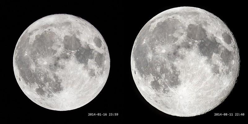 最遠の満月(2014/1/16)と最近の満月(2014/8/11)
