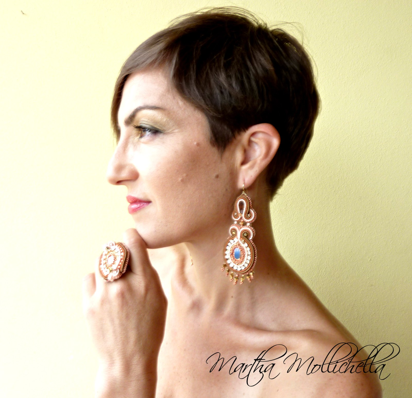 Swarovski Soutache Earrings handmade in Italy by Martha Mollichella