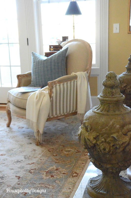 French Country Soft Surroundings Chair-Pottery Barn Herringbone Pillow-Housepitality Designs