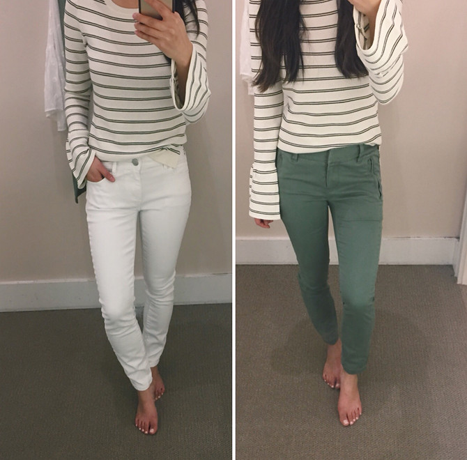loft petite spring white jeans olive pants review