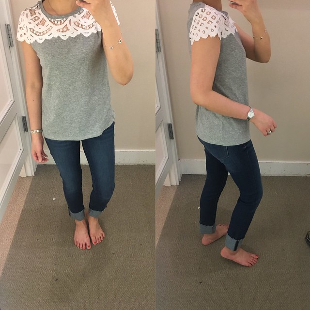 LOFT Lace Topped Tee, size XXS regular