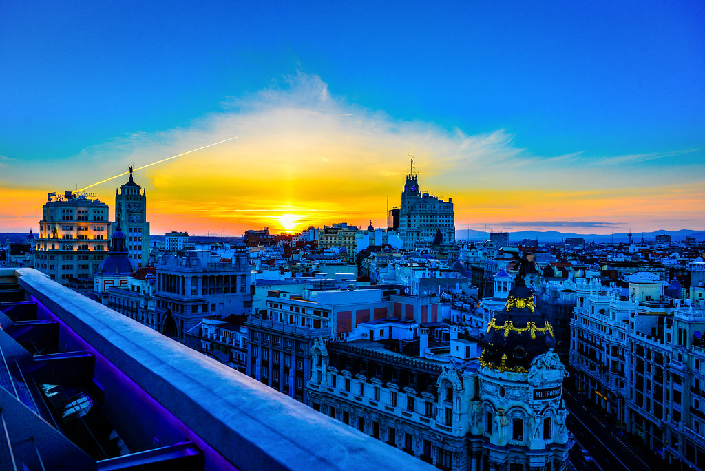 Sunset over Madrid viewed Bellas Artes Tower - Madrid Spain
