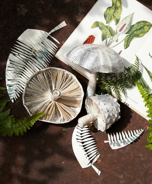 Folded Book Art - Mushrooms & Ferns Project