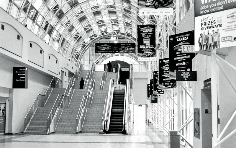 Stairs and Escalator Up the Skywalk