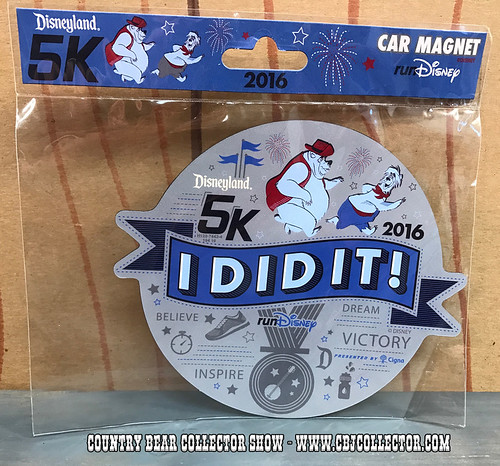 2016 Run Disney Disneyland 5k I Did It Car Magnet - Country Bear Collector Show #088