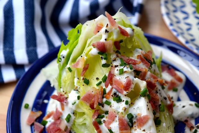 Skinny Buttermilk Ranch and Crispy Bacon Wedge Salad | www.rachelphipps.com @rachelphipps