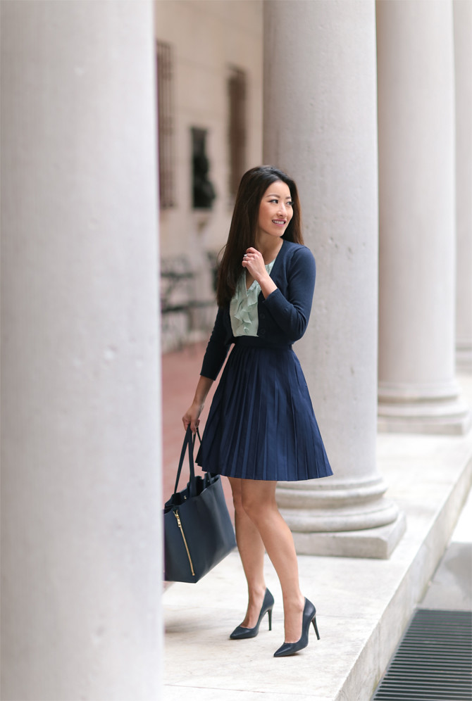 modcloth navy pleated skirt spring outfit ideas