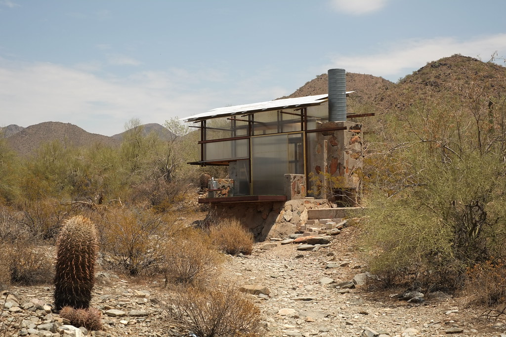 Traslucent tiny house in the desert of arizona within taliesin west by nicolas