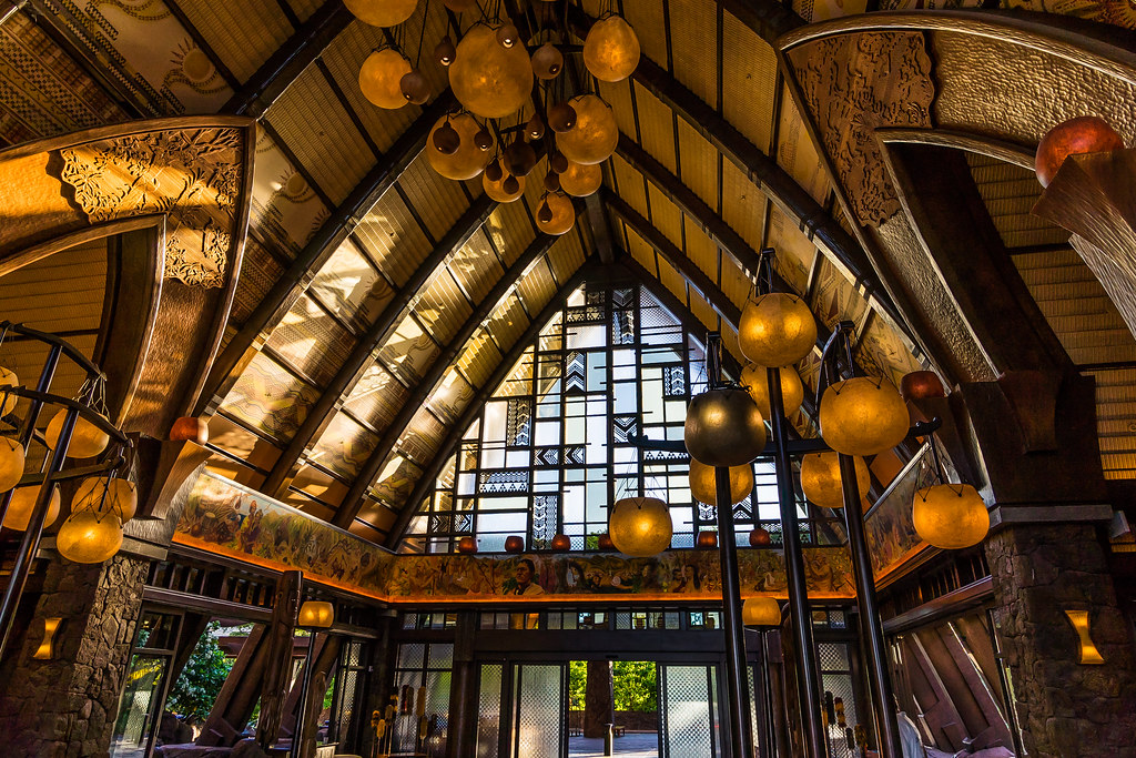 Sunrise inside the lobby of Disney's Aulani Resort & Spa