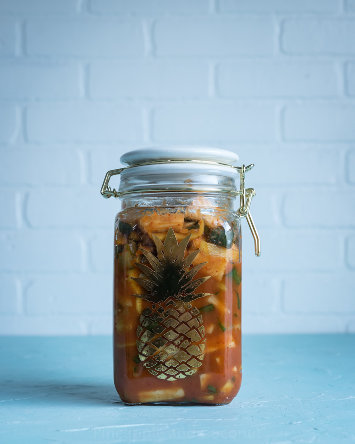 Tropical Cucumber Kimchi www.pineappleandcoconut.com
