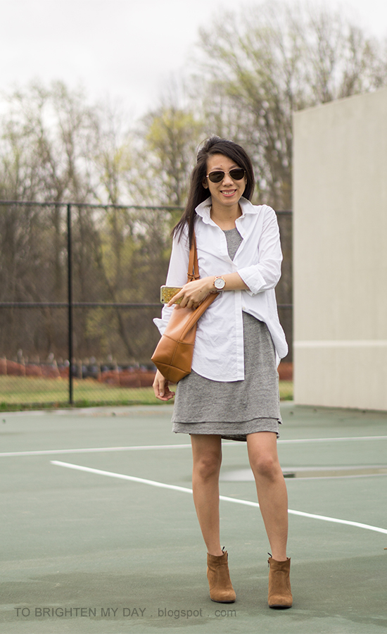 white button up dress shirt, gray tank tiered dress, cognac brown tote, oversized watch, brown suede ankle boots
