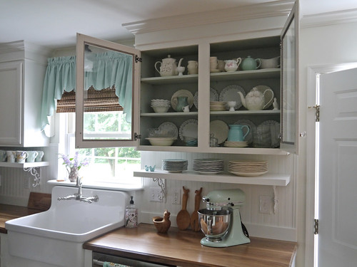 Mint Green Kitchen Brown Cabinets
