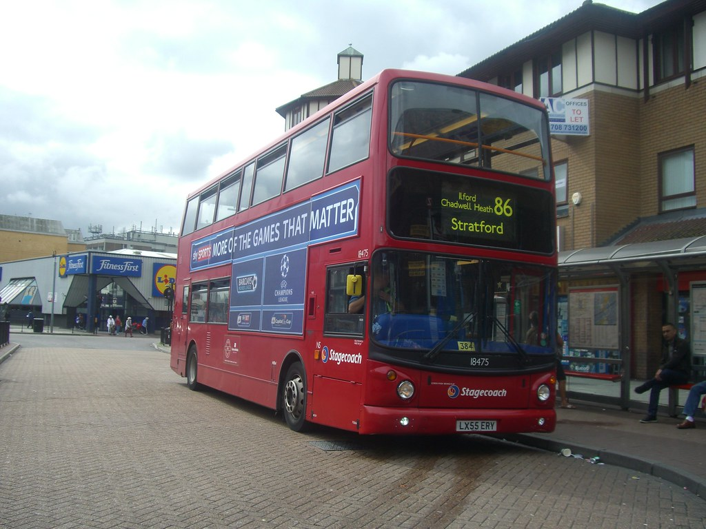 ... Stagecoach East London: LX55 ERY/ 18475 on route 86 to Stratford, Bus  Station