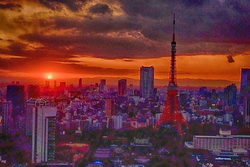Tokyo spring sunset