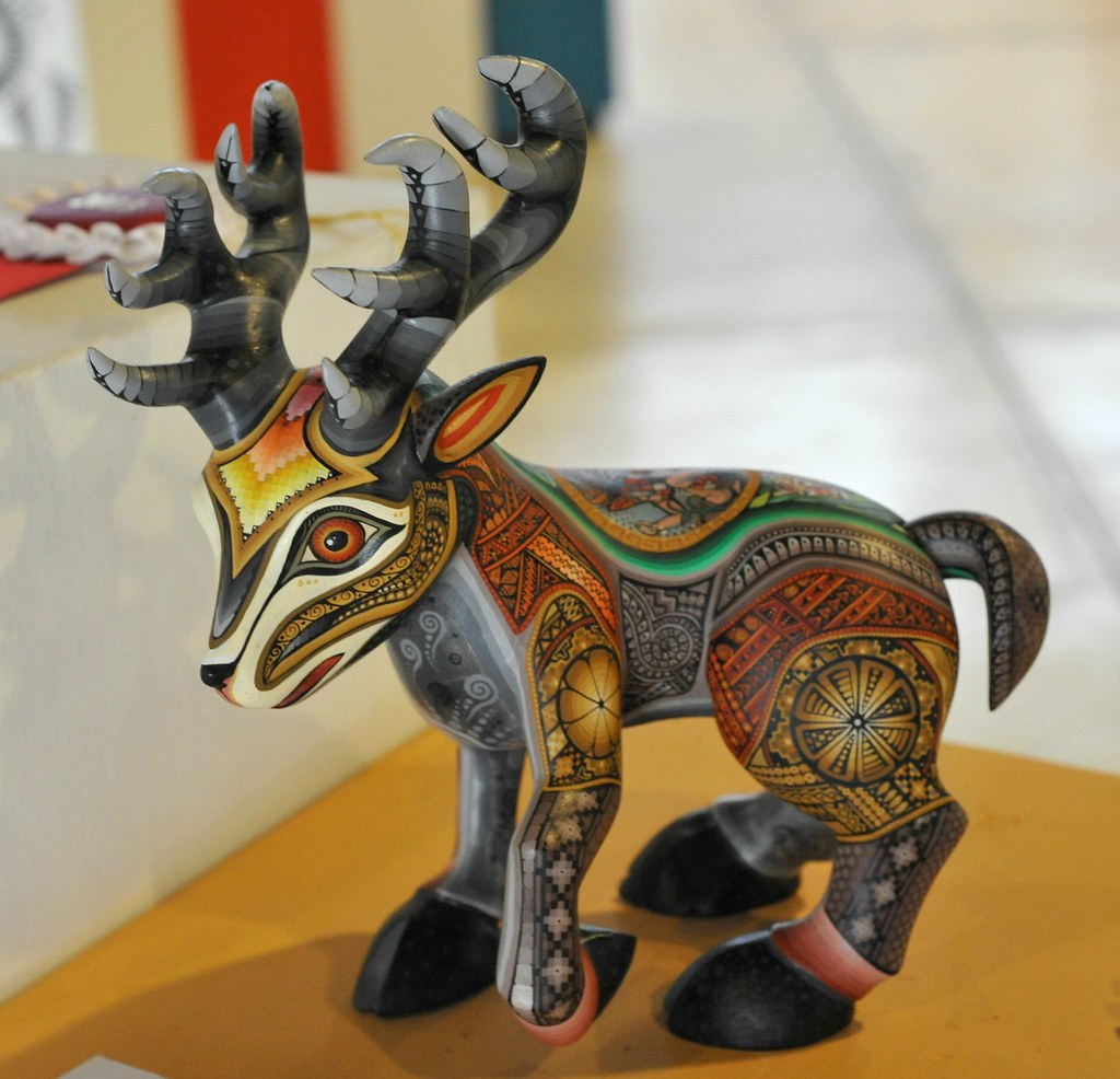 Oaxaca Wood Carving Deer | Carved and painted figure of a de… | Flickr