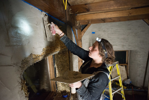 Tara Plastering Interior of Straw Bale Cottage | by goingslowly