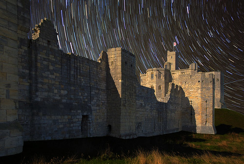 Star trails over Warkworth Castle | by grelf.net