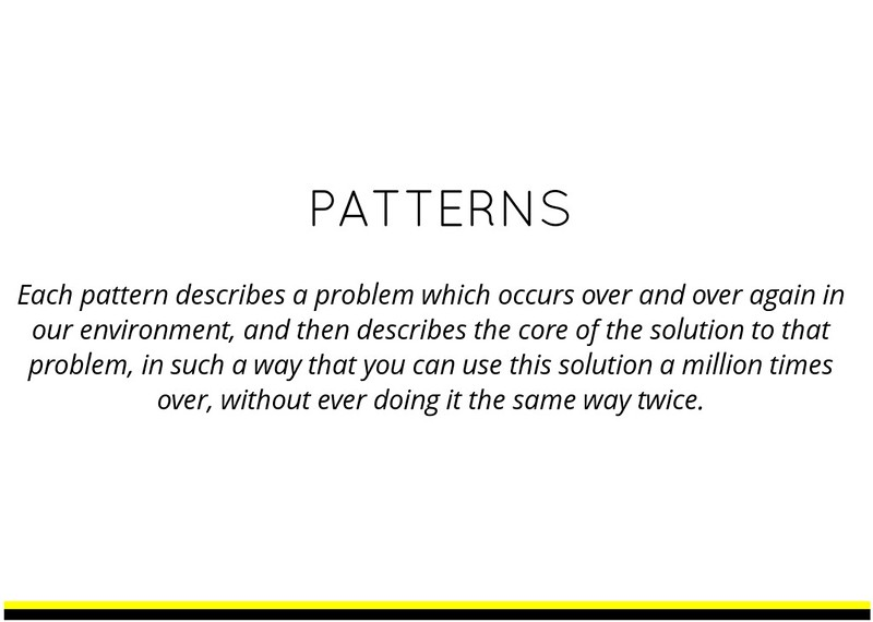 Citation of Cristopher Alexander, from his book on patterns