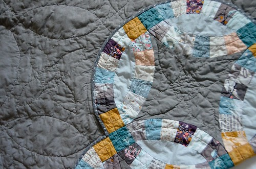 Completed Double Wedding Ring Quilt - washed