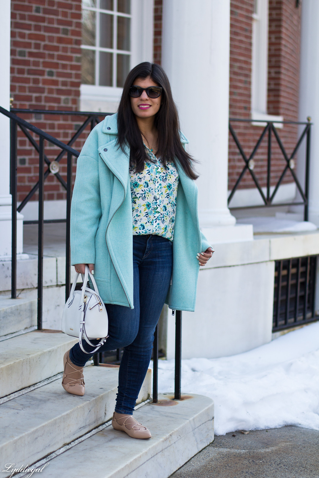 mint green cocoon coat, floral blouse, lace up flats, spring outfit-1.jpg