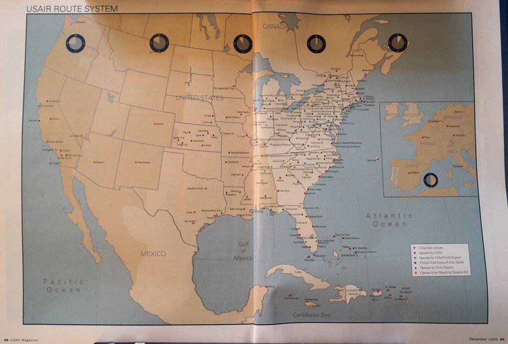 USAir Route Map December USAir Route Map From Decemb Flickr - Us airways direct flights map