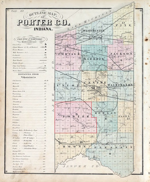 Porter county map 1876