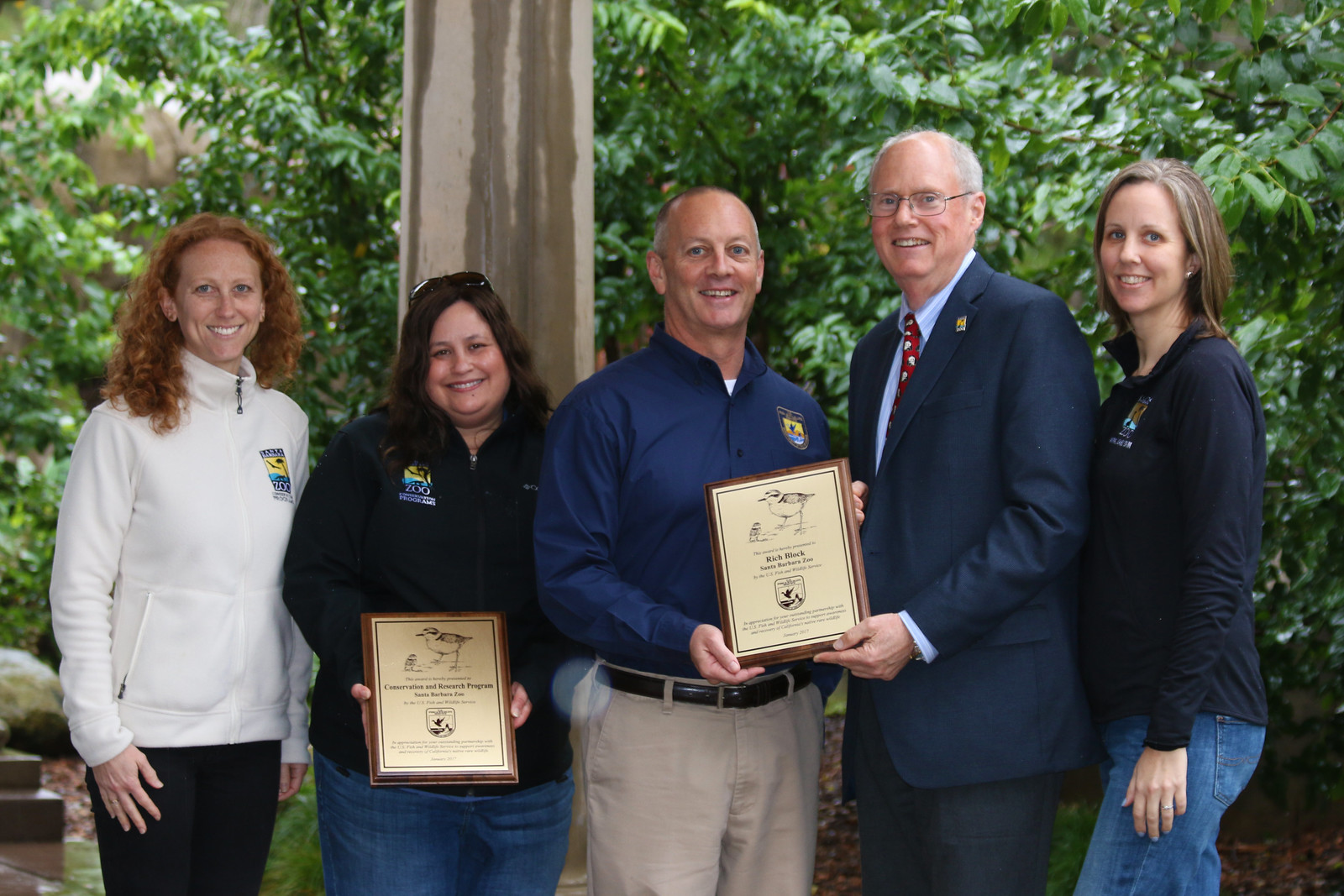 Santa Barbara Zoo Conservation and Research team accepts award from U.S. Fish and Wildlife Service Field Supervisor Steve Henry for Zoo's commitment to the recovery or rare wildlife.