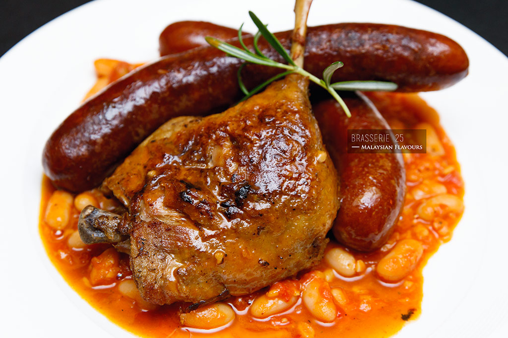 stewed lamb sausage with duck confit