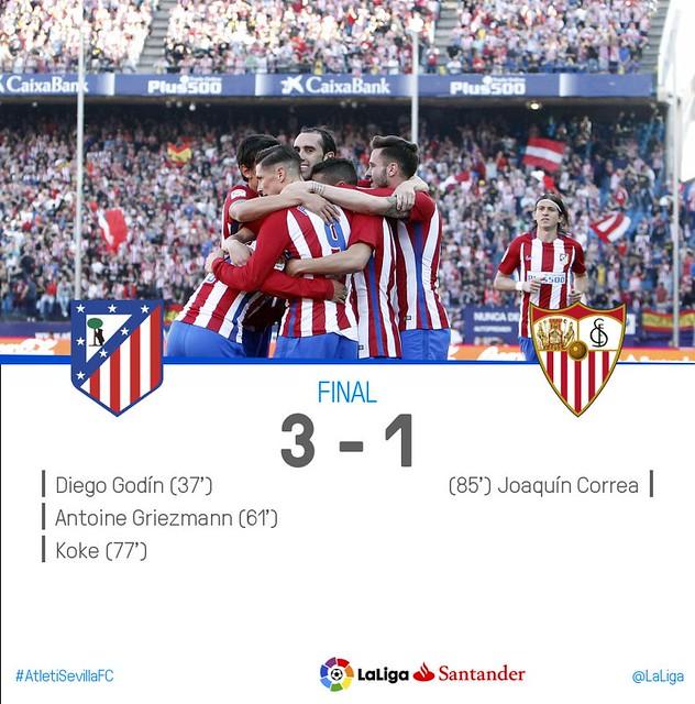 La Liga (Jornada 28): Atlético de Madrid 3 - Sevilla FC 1