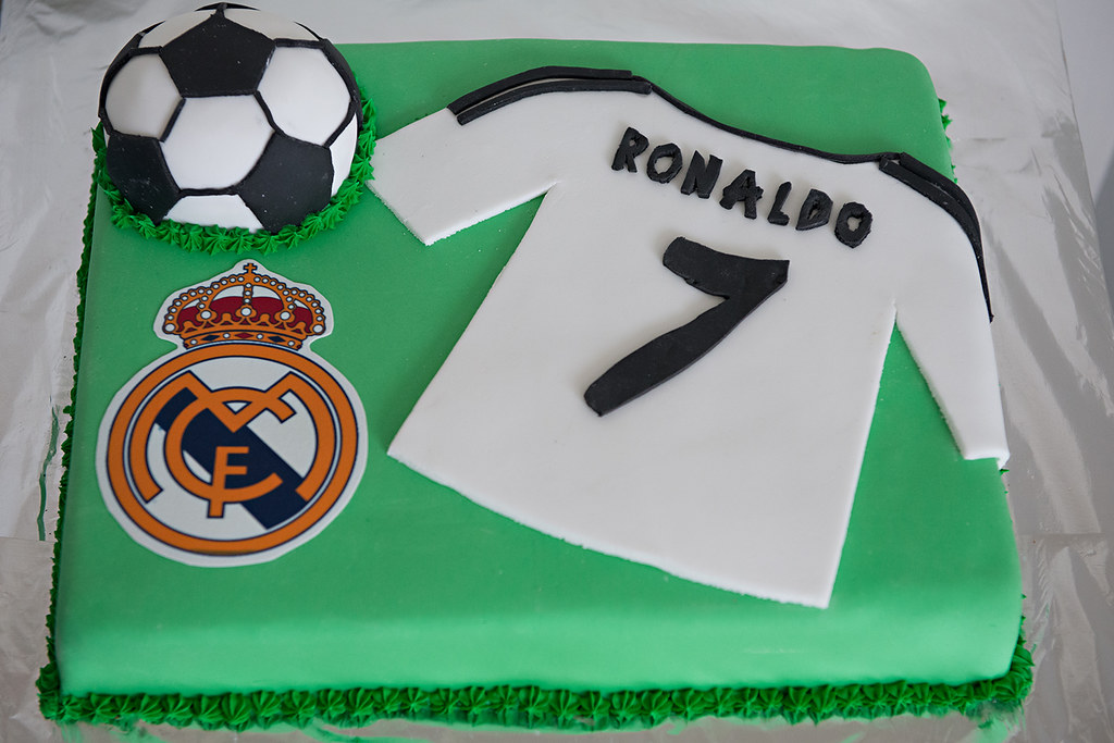 Boys birthday cake Real Madrid Ronaldo cake Nicole Pearce Flickr