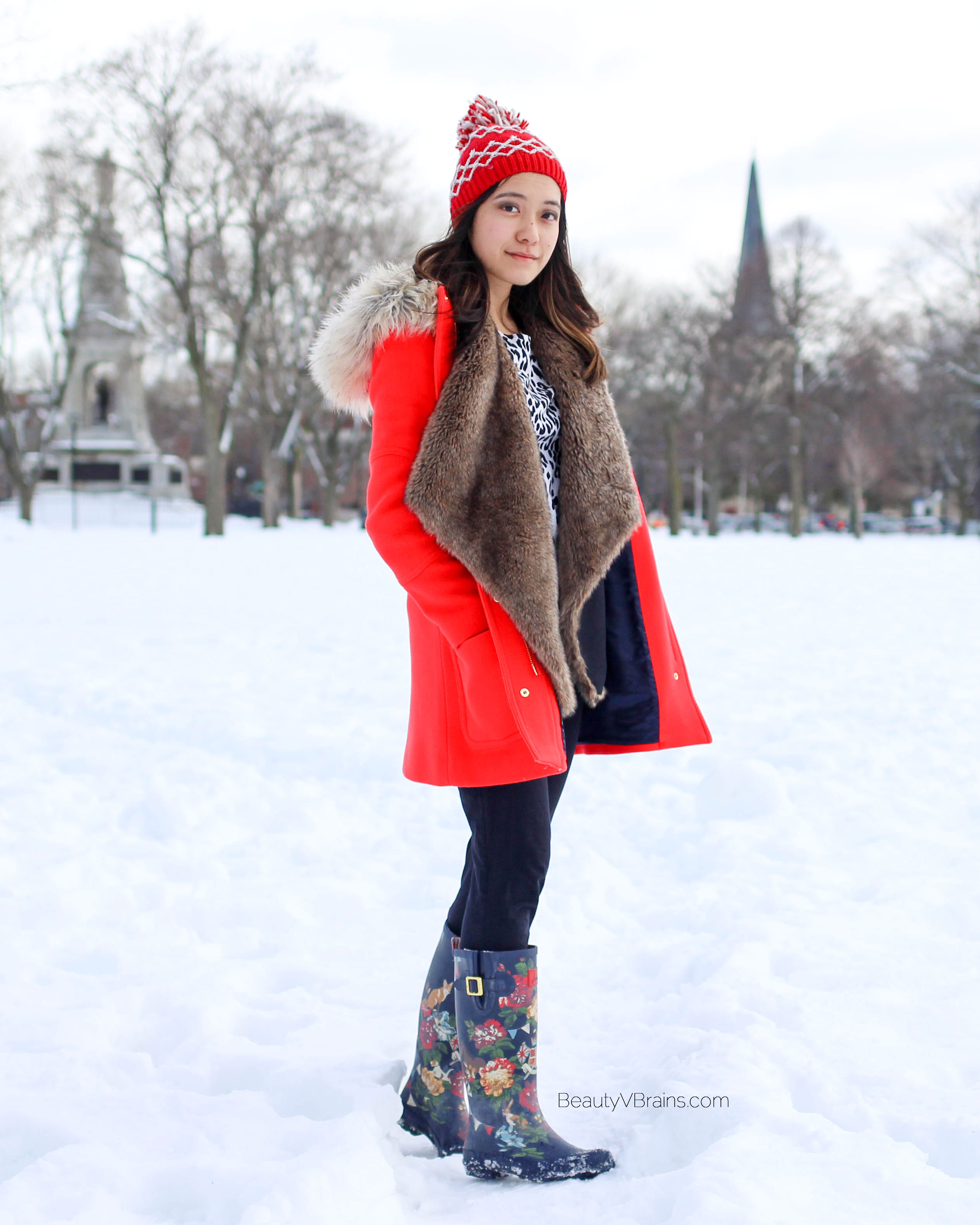 Joules floral wellies and American Eagle pom pom beanie