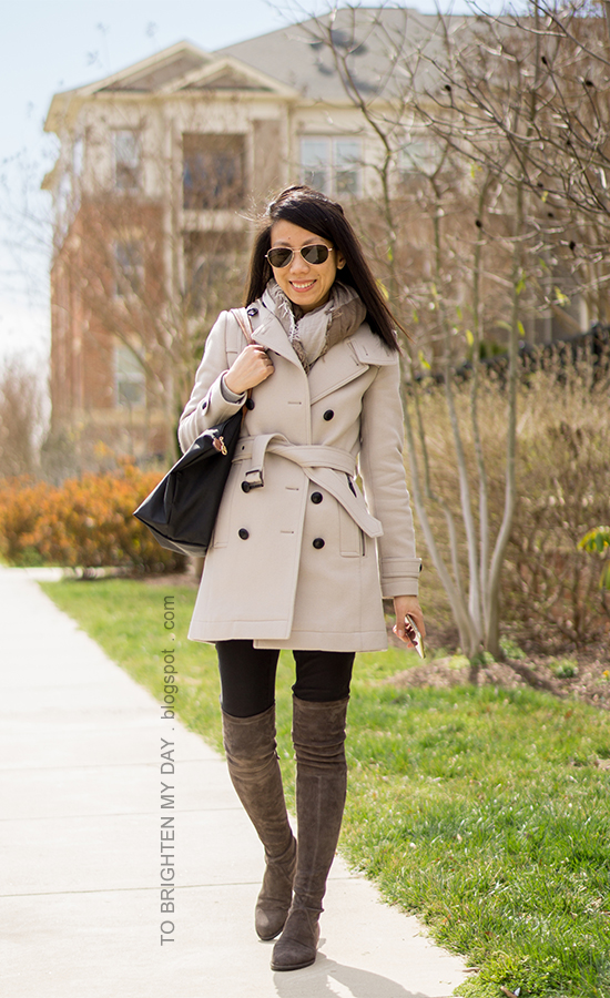 gray wool trench coat, plaid scarf, black tote, black skinny  jeans, gray suede over the knee boots