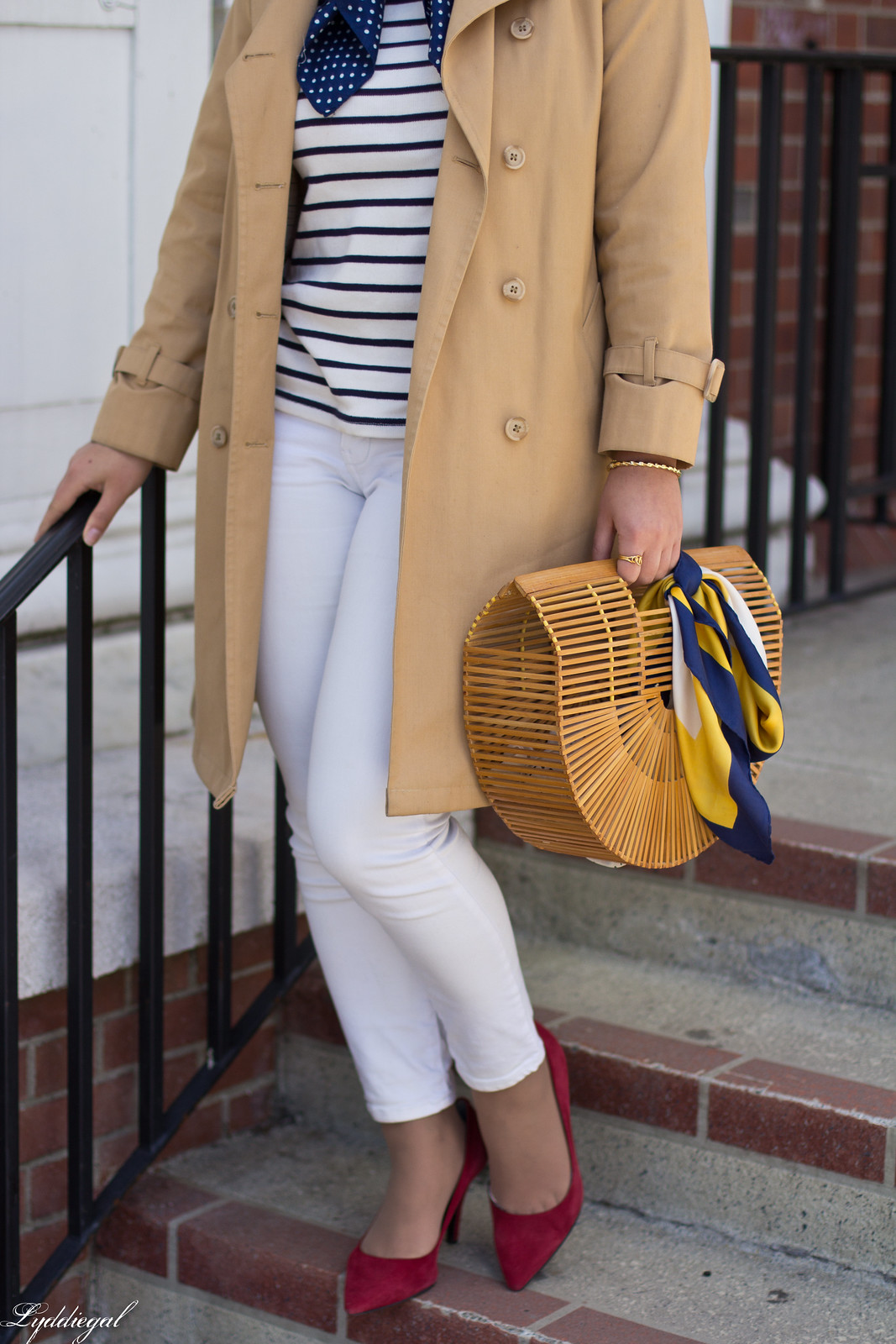 trench, striped shirt, neck scarf, white jeans, bamboo bag-7.jpg