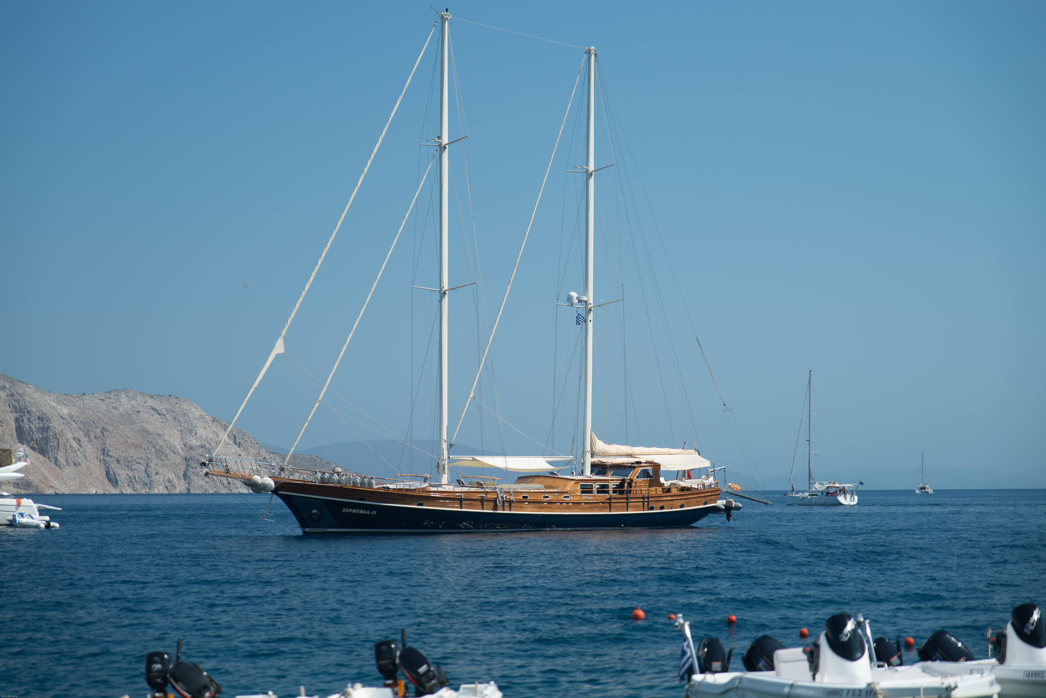 Two masted Sailing ship in Symi Greece harbour