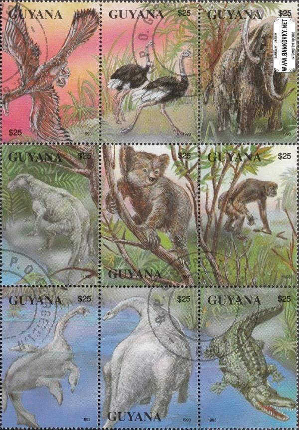 Známky Guyana 1993 Praveké zvieratá, razítkovaný hárček