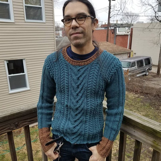 Tim's new sweater. The mistakes bother me way more than they bother him. #knitting
