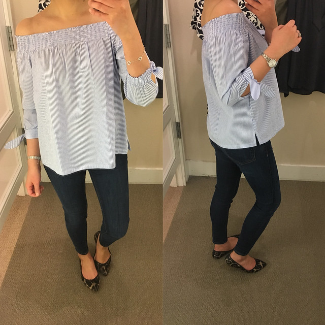 LOFT Striped Off The Shoulder Top, size XXSP