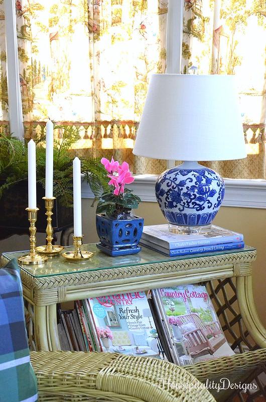 Sunroom-Blue and White-Wicker-Housepitality Designs