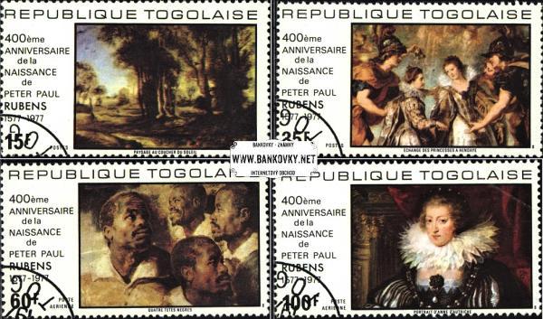 Známky Togo 1977 Rubensove maľby, razítkovaná séria