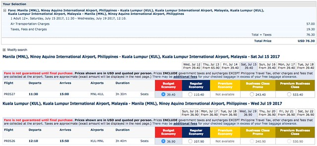 Manila to Kuala Lumpur USD76.30 Roundtrip Philippine Airlines